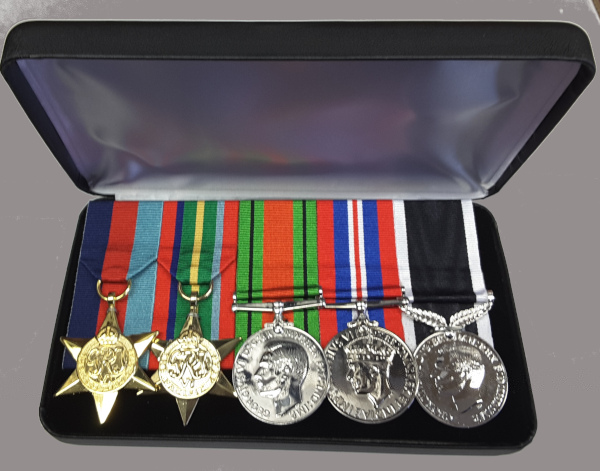 mounted replica medals in display travel case