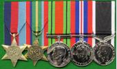full WWII 5 medals set Pacific Star with Defence Medal